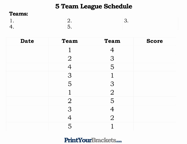 10 Team Schedule Template New Printable 5 Team League Schedule