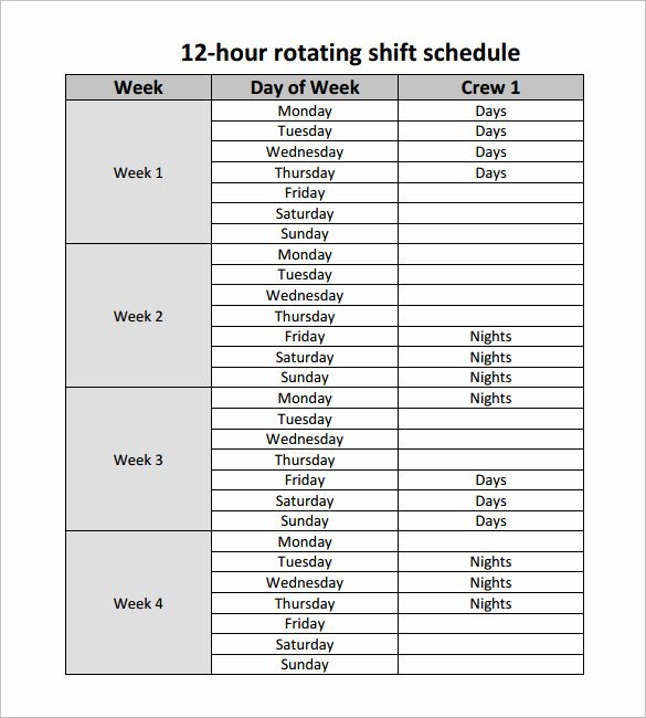 12 Hour Schedule Template Beautiful 12 Hour Nursing Shift Schedule Template Templates