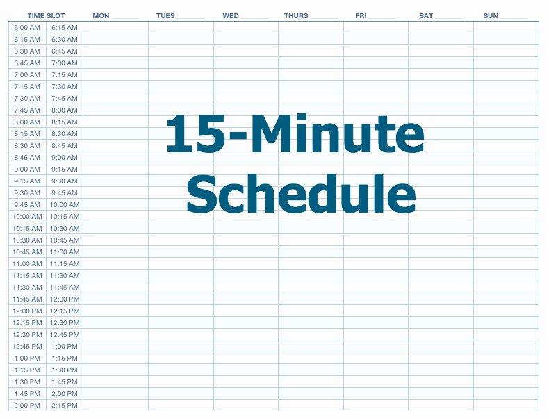 15 Minute Schedule Template Beautiful 15 Minute Schedule Template