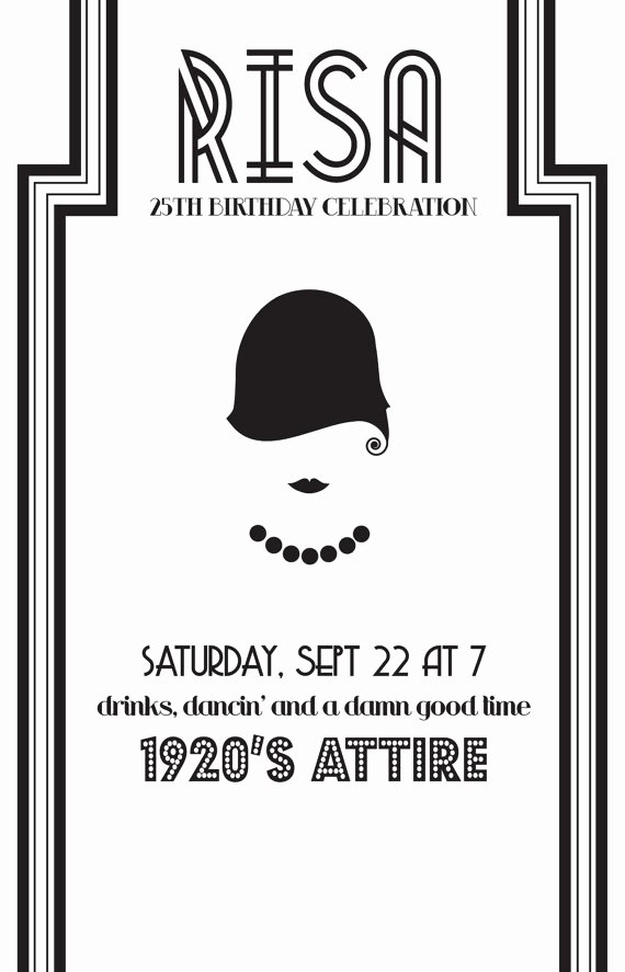 1920s Invitation Template Free Unique Cute Shower Idea Diy 1920 S theme Party Invite by
