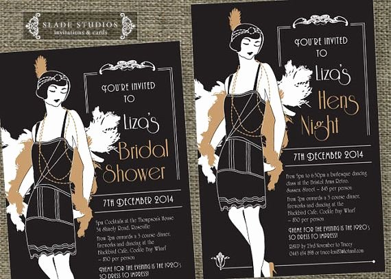 1920s Invitation Template Free Unique Hens Night Great Gatsby 1920s Flapper Bridal Shower