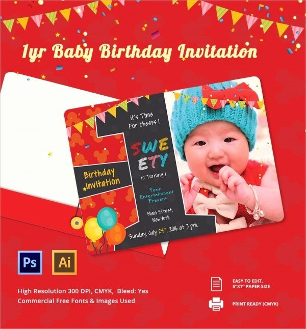 1st Birthday Card Template Beautiful Sample Birthday Invitation Template 40 Documents In Pdf
