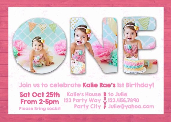 1st Birthday Card Template Beautiful Shop Template First 1st One Birthday Invite