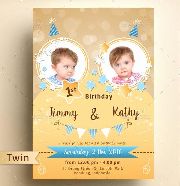 1st Birthday Card Template Fresh 30 Beautiful Kids Birthday Invitations Psd Eps Ai