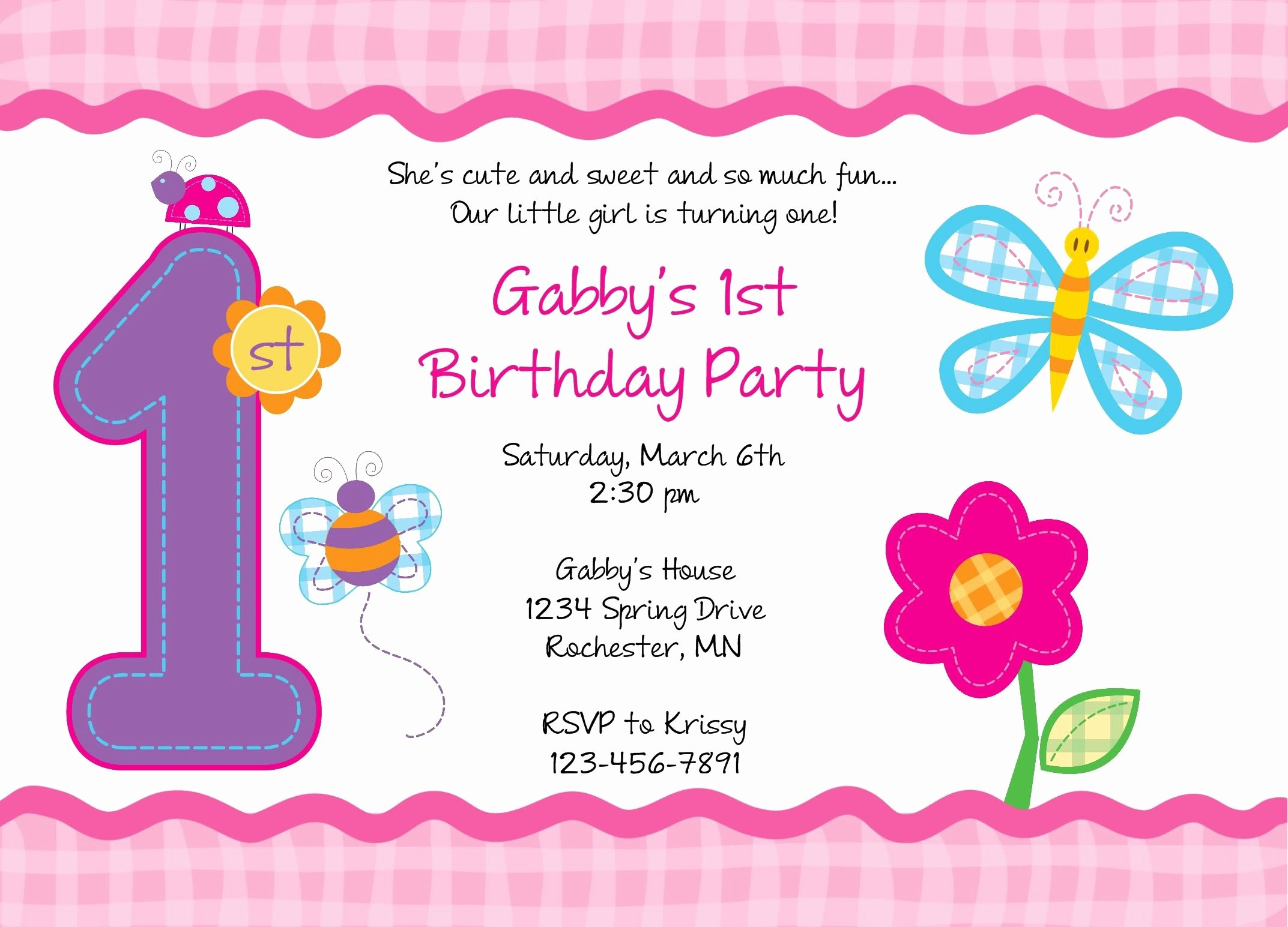 1st Birthday Card Template Fresh Birthday Invitation Card Free Printable 1st Birthday