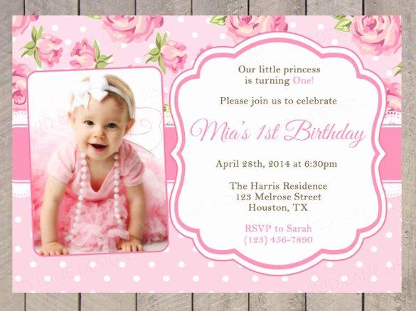 1st Birthday Card Template Lovely First Birthday Invitation Card Template Negocioblog