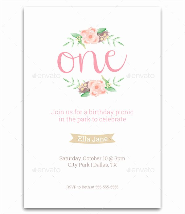 1st Birthday Card Template Lovely Party Invitation Templates