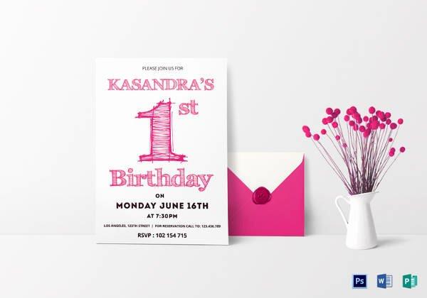 1st Birthday Card Template Luxury 38 Kids Birthday Invitation Templates – Psd Ai