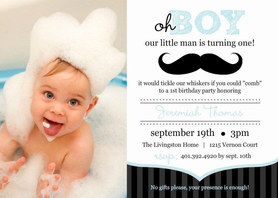 1st Birthday Card Template Luxury First Birthday Invitation Wordings for Baby Boy Yourweek