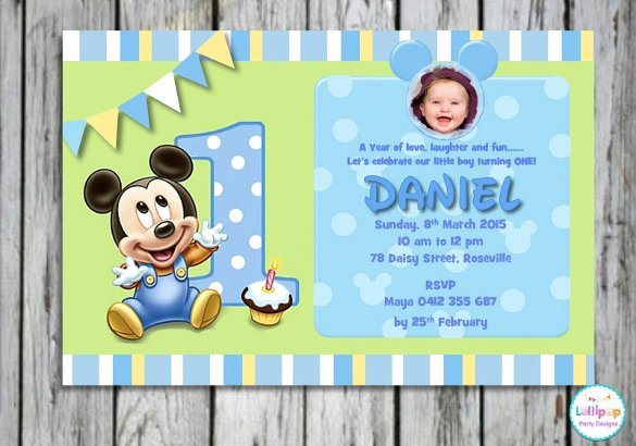 1st Birthday Card Template New 30 Mickey Mouse Invitation Template