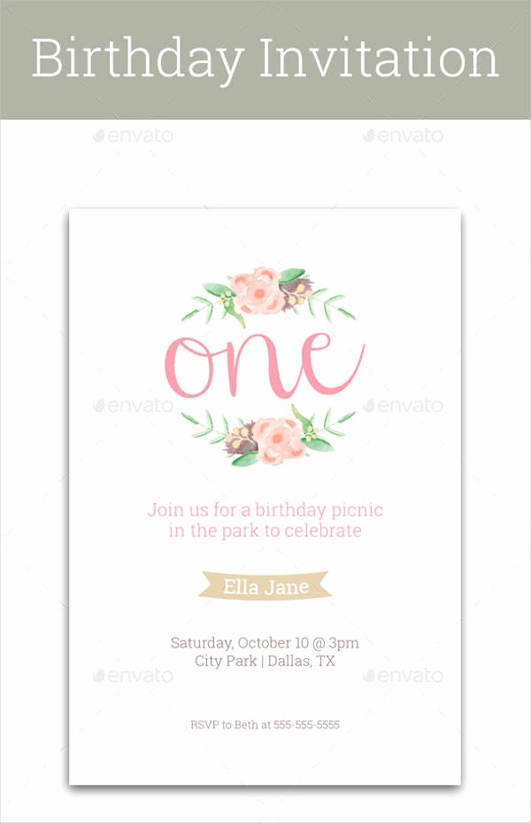 1st Birthday Card Template New Birthday Invitation format Templates