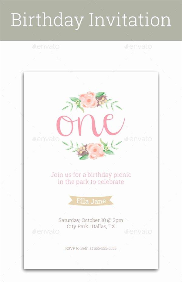 1st Birthday Card Template New Birthday Invitation format Templates