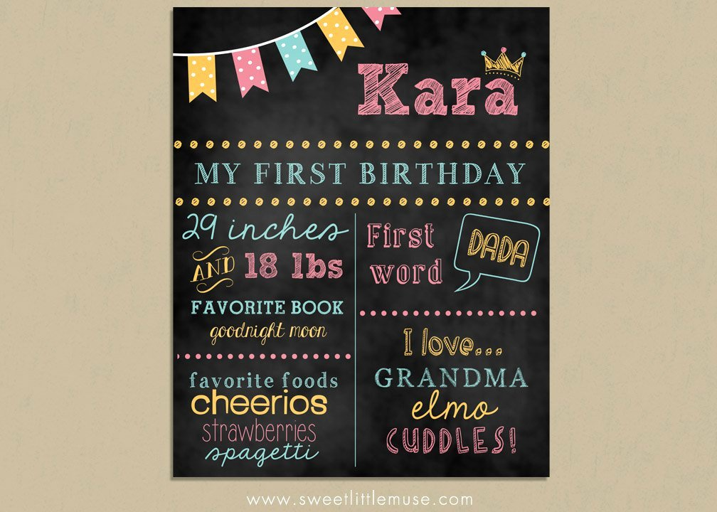 1st Birthday Chalkboard Template Awesome First Birthday Chalkboard Template Chalkboard by