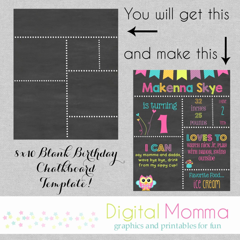 1st Birthday Chalkboard Template Beautiful Printable Diy Blank Birthday Chalkboard Template by