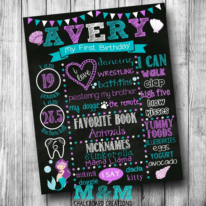 1st Birthday Chalkboard Template Best Of First Birthday Mermaid Chalkboard Poster Girl by Mmchalkboards