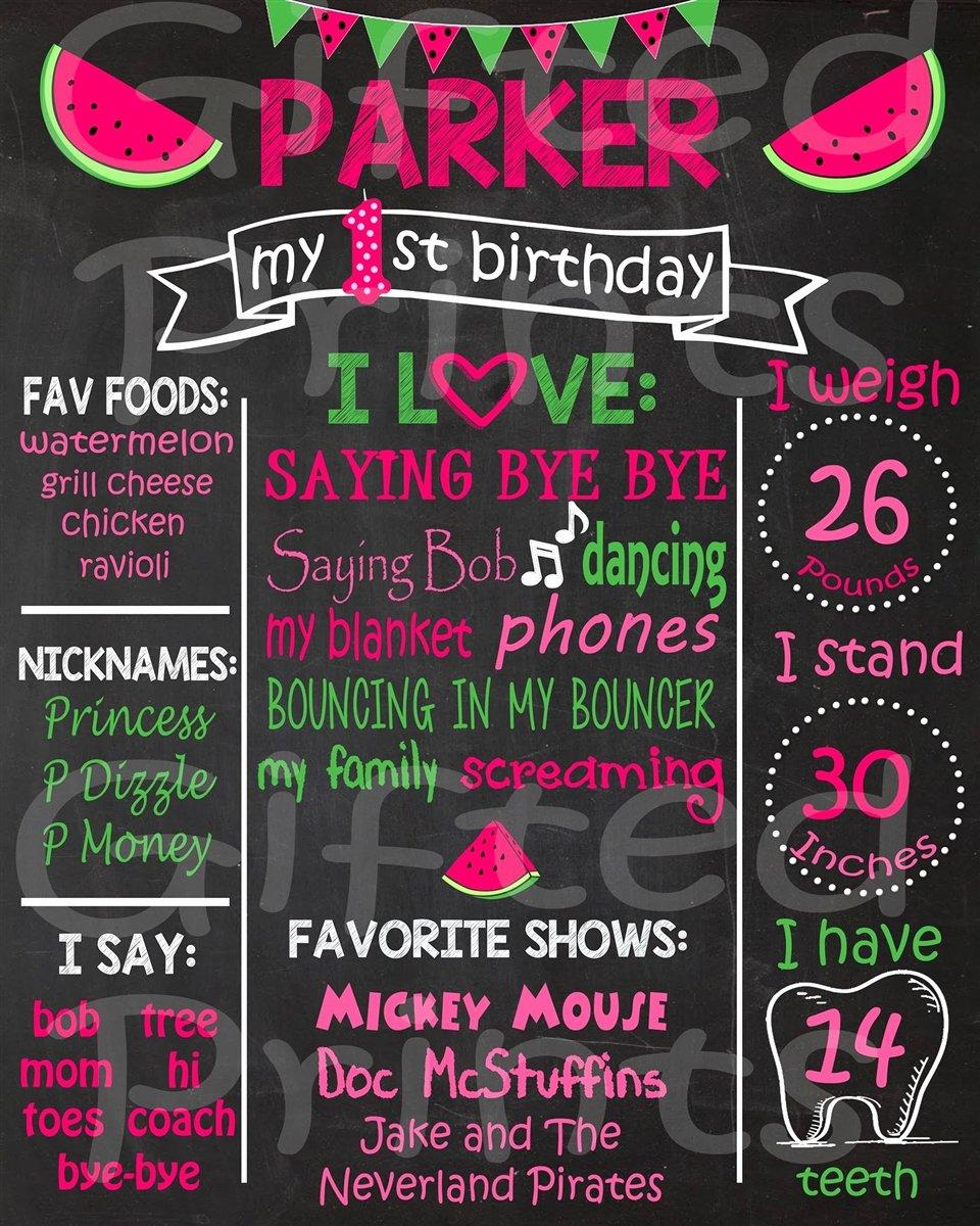 1st Birthday Chalkboard Template Elegant Birthday Chalkboard Watermelon theme