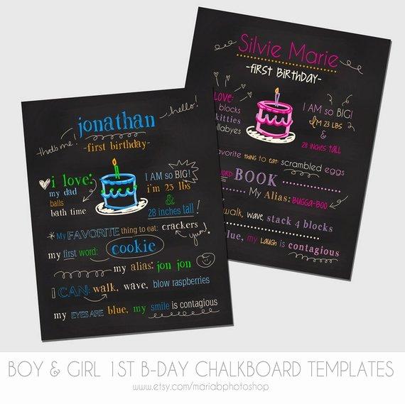 1st Birthday Chalkboard Template Fresh Items Similar to Boy & Girl First Birthday Chalkboard