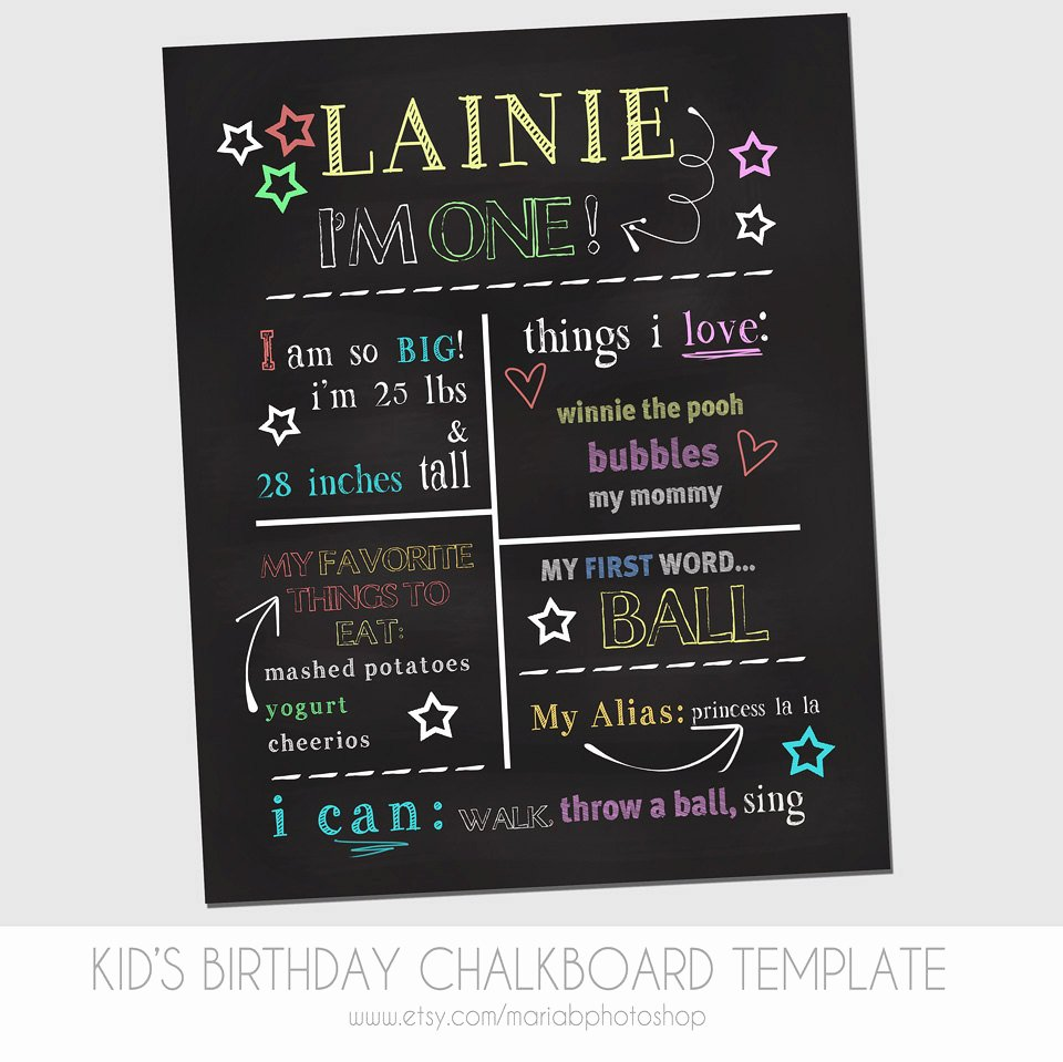 1st Birthday Chalkboard Template Inspirational Child S First Birthday Chalkboard Template Marketing