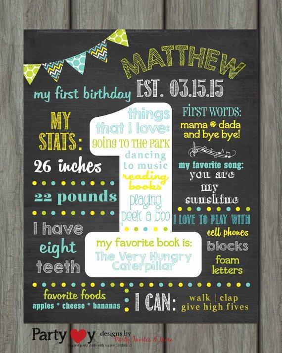 1st Birthday Chalkboard Template Lovely 1st Birthday Chalkboard Poster Template Items Similar to