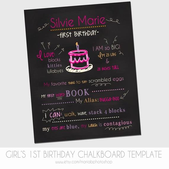 1st Birthday Chalkboard Template Lovely Items Similar to Girl S First Birthday Chalkboard Template