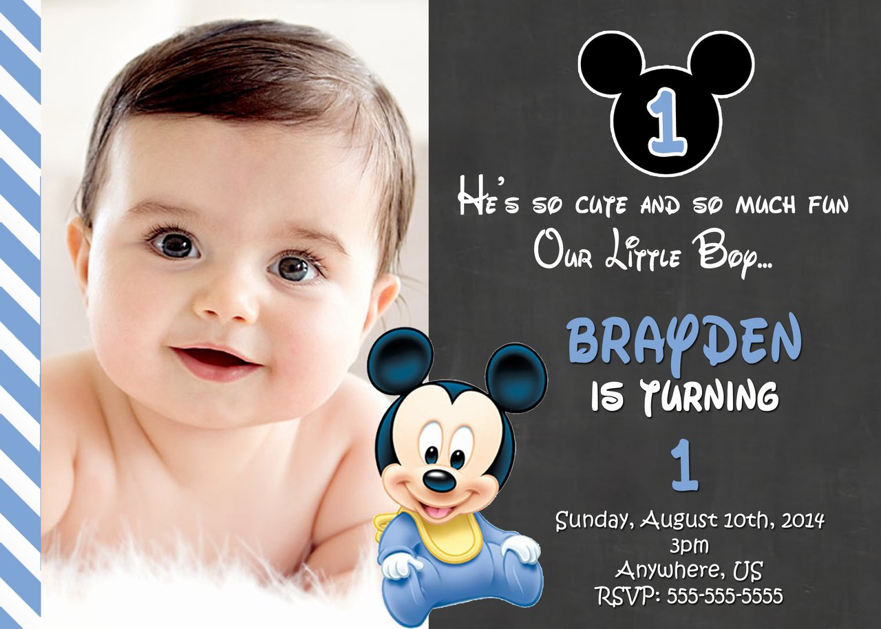 1st Birthday Invitation Template Awesome Free Printable Mickey Mouse 1st Birthday Invitations
