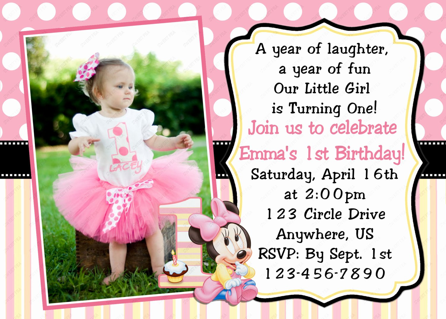 1st Birthday Invitation Template Beautiful Minnie Mouse 1st Birthday Invitations Template