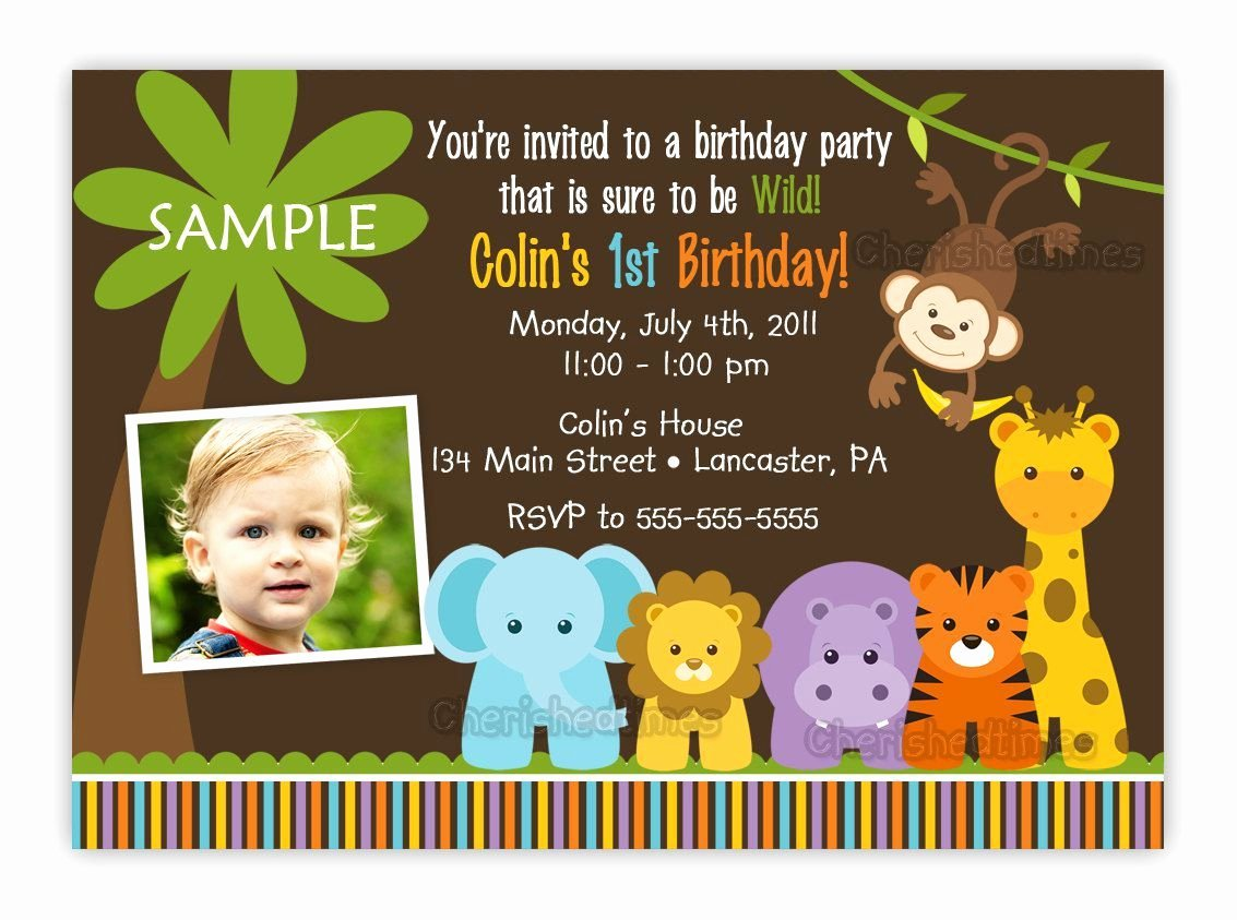 1st Birthday Invitation Template Best Of Jungle themed 1st Birthday Party Invitations