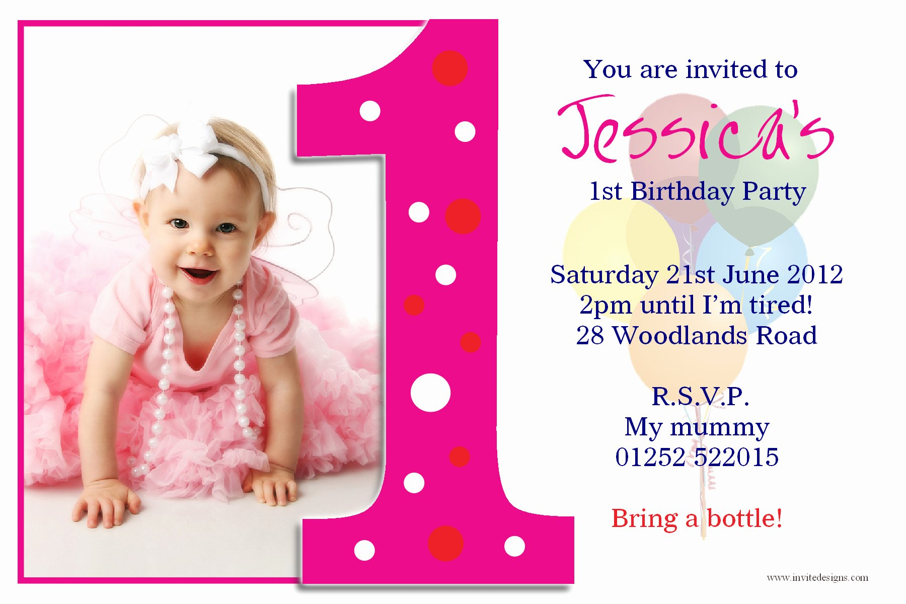 1st Birthday Invitation Template Elegant Birthday Invitations 1st Birthday Invitations Girl Free
