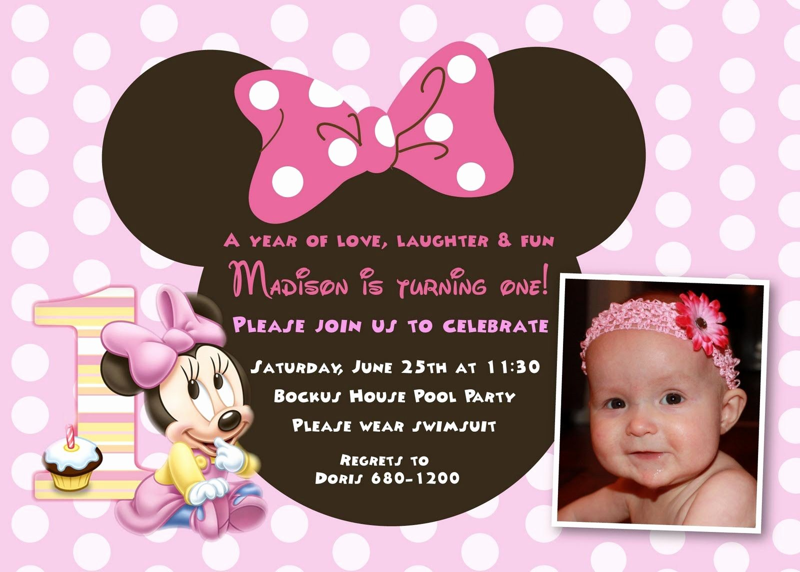 1st Birthday Invitation Template Fresh Cool Minnie Mouse First Birthday Invitations Designs