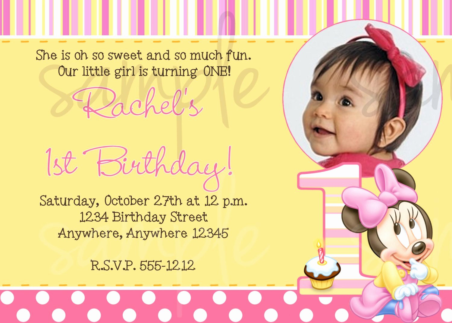 1st Birthday Invitation Template Inspirational Minnie Mouse 1st Birthday Invitation