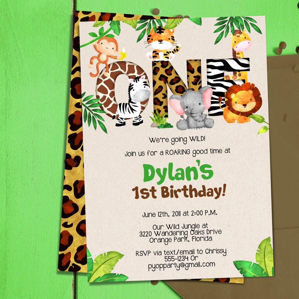 1st Birthday Invitation Template Lovely Jungle 1st Birthday Party Invitation Template Jungle