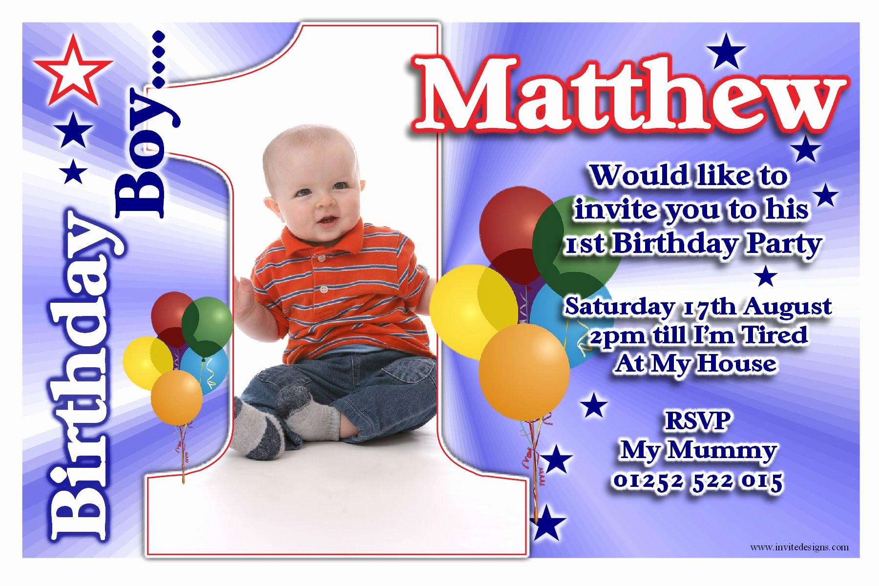 1st Birthday Invitation Template Luxury Free Printable 1st Birthday Party Invitations Boy Template