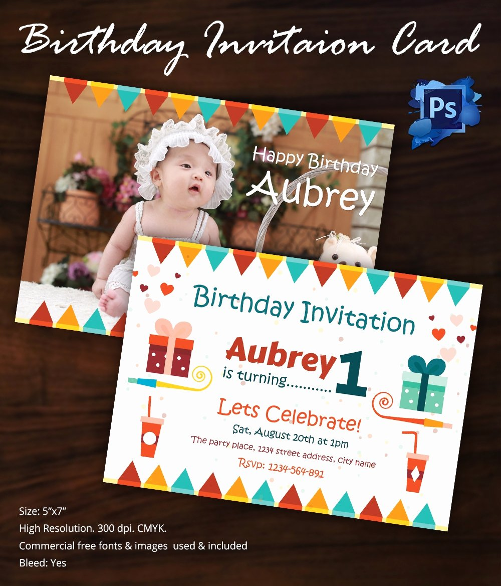 1st Birthday Invitation Template Unique Birthday Invitation Template 32 Free Word Pdf Psd Ai