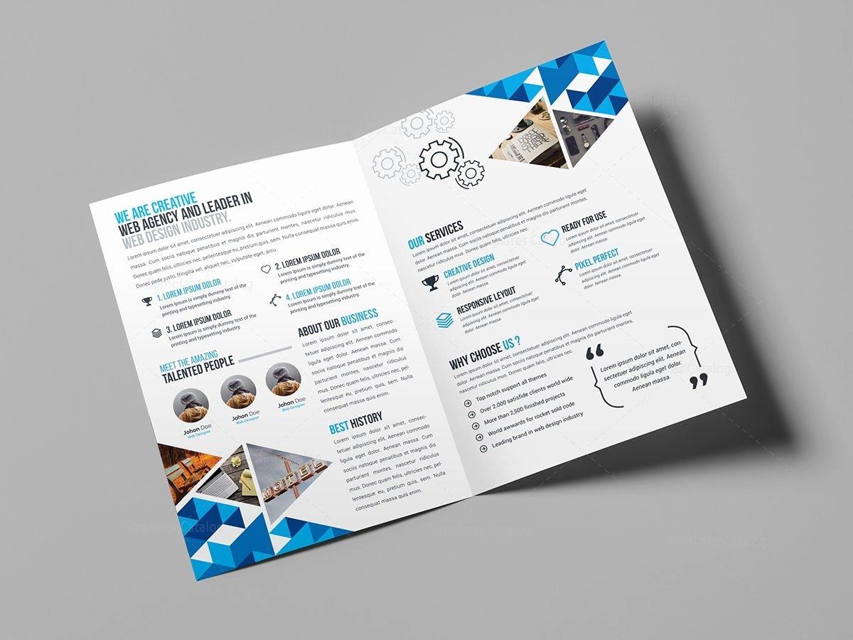 2 Fold Brochure Template Beautiful Blue Diamond Bi Fold Brochure Template Template