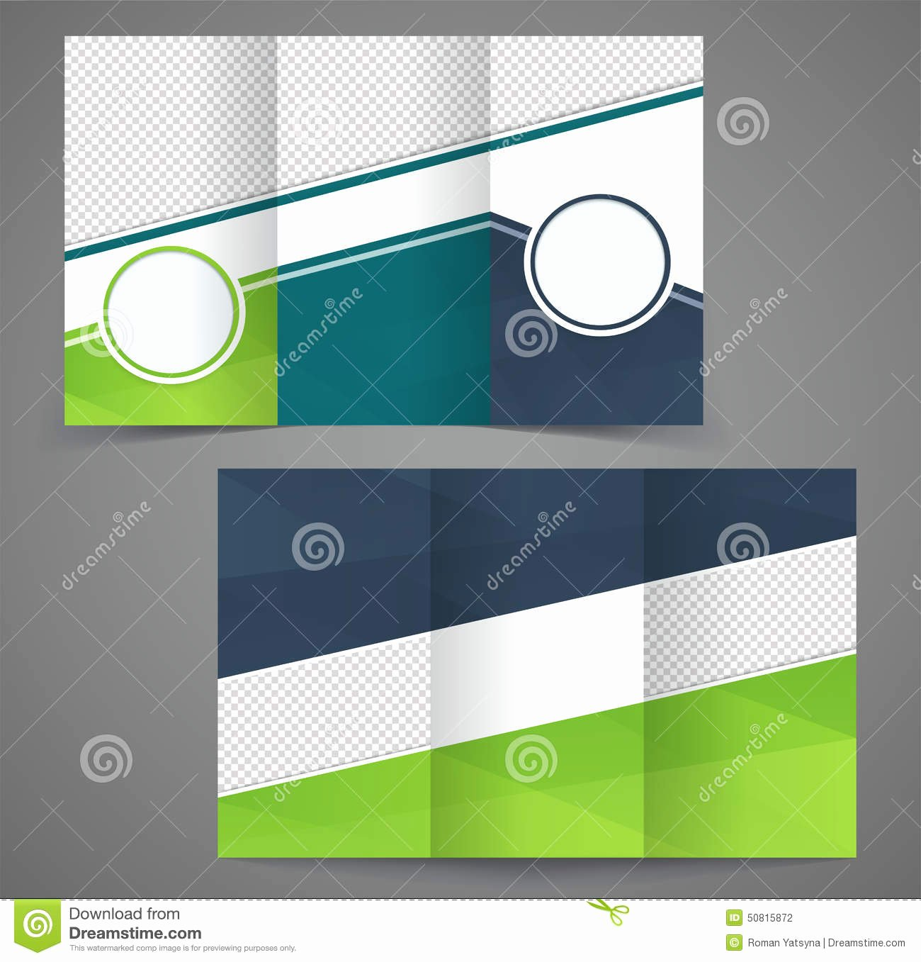 stock illustration tri fold business brochure template two sided template design mock up cover dark blue green colors image