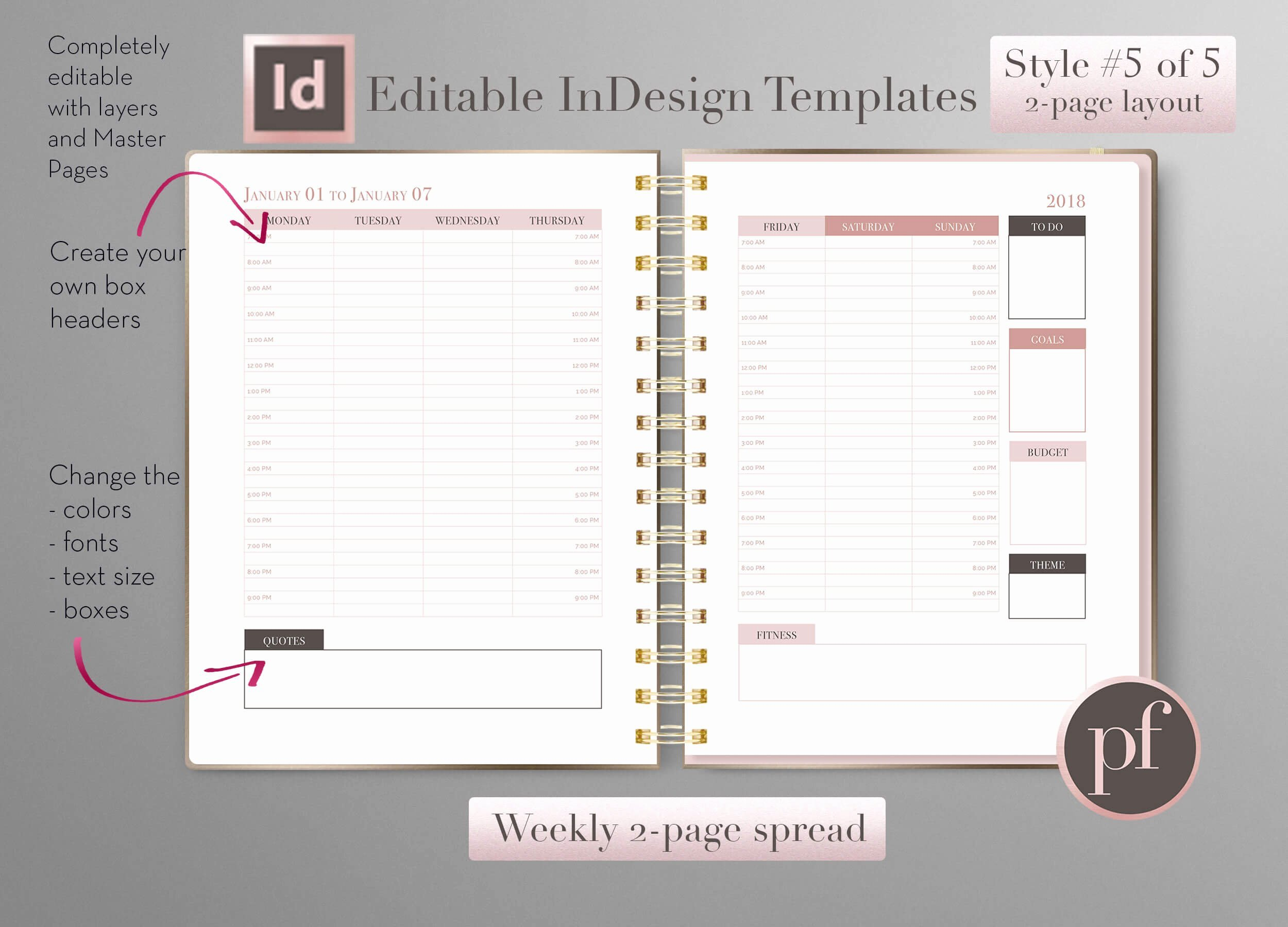 2016 Calendar Template Indesign Fresh Weekly Calendar