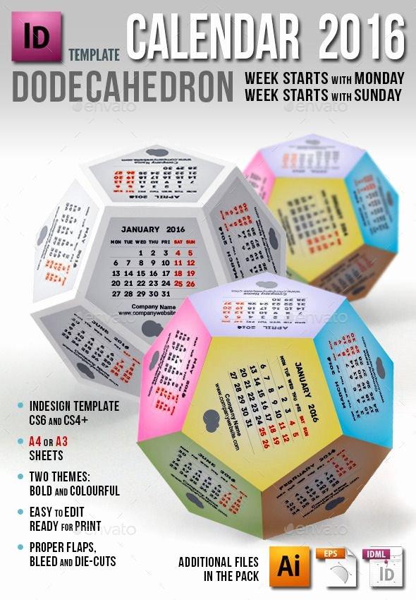 2016 Calendar Template Indesign Inspirational Calendar 2016 Dodecahedron Template Indesign Indd Eps Ai
