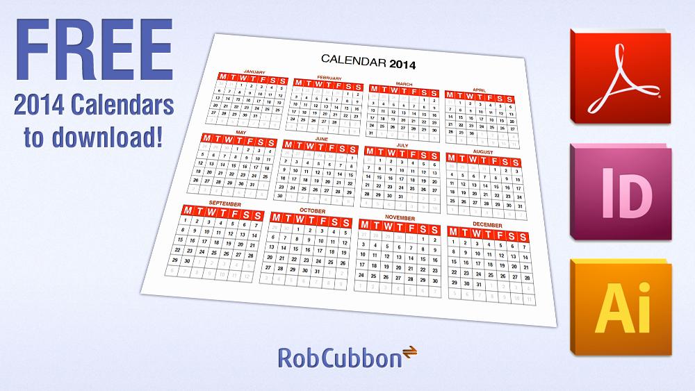 2016 Calendar Template Indesign New Free Download 2014 Calendar In Pdf Illustrator Ai