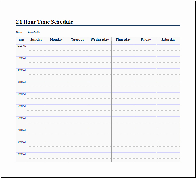 24 Hour Calendar Template Awesome 28 Of 24 Hourly Schedule Template