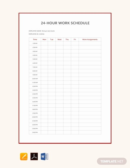 24 Hr Schedule Template New Free 24 Hour Work Schedule Template Download 172