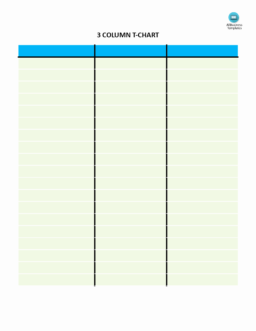 3 Column Chart Template Fresh Free T Chart with 3 Columns