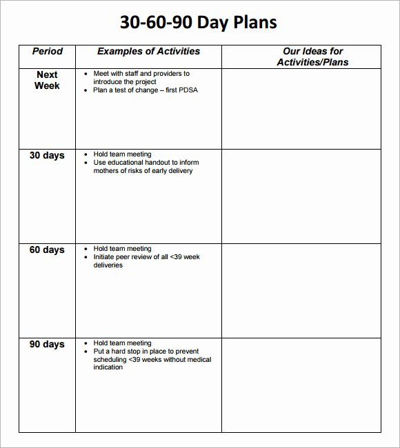 30 Day Plan Template Elegant 8 Sample 30 60 90 Day Plan Templates to Download