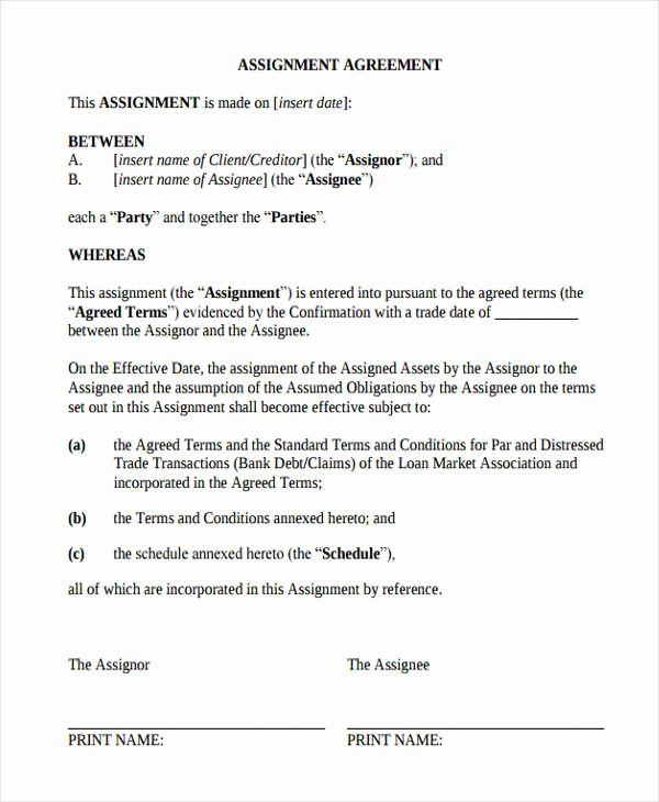 360 Deal Contract Template Awesome 17 assignment Agreement Templates Word Pdf Pages