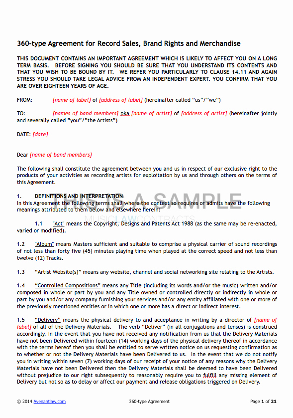 360 Deal Contract Template Lovely 360 Deal Contract Templates See A Sample