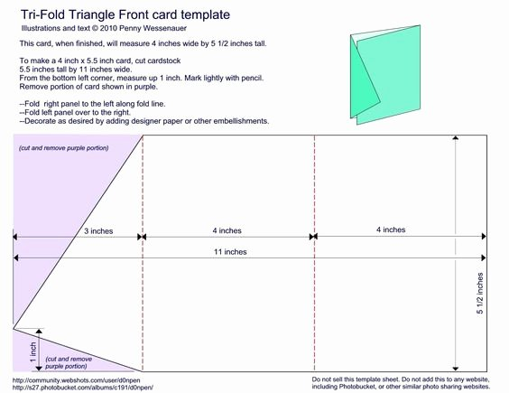 "4 Fold Card Template Awesome Tri Fold Triangle Front Card Template 4"" X 5 1 2"