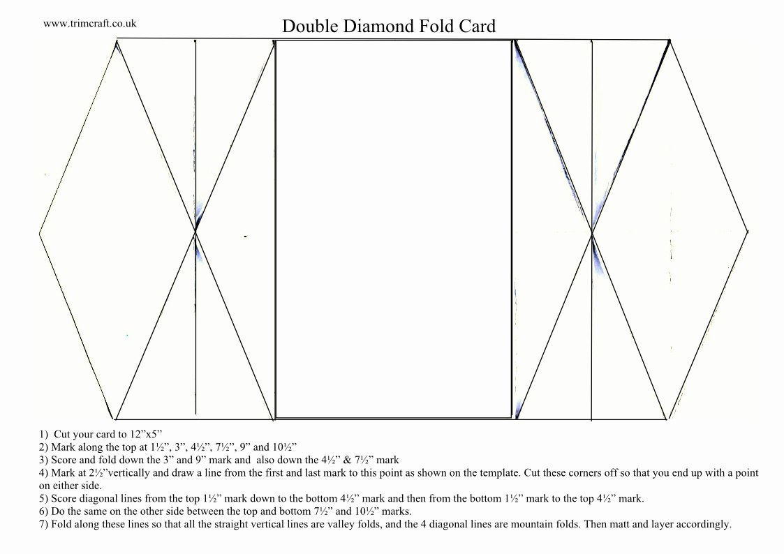 4 Fold Card Template New Iced Double Diamond Fold Cards