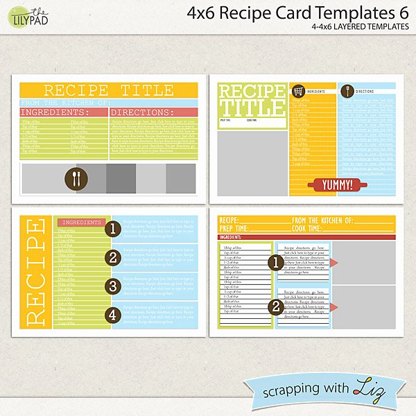 4 Up Postcard Template Awesome Digital Scrapbook Templates 4x6 Recipe Card 6