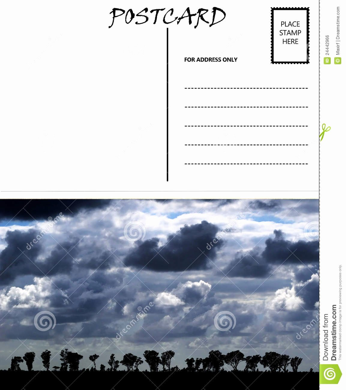 4 Up Postcard Template Awesome Empty Blank Postcard Template Africa Sky Image Stock
