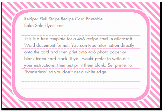 4x6 Card Template Word Lovely 7 Best Of Free Printable 4x6 Recipe Card Templates