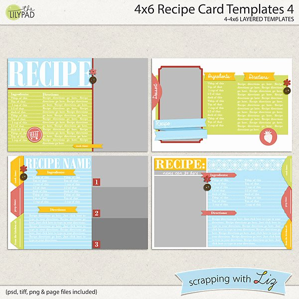 4x6 Card Template Word Luxury Digital Scrapbook Templates 4x6 Recipe Card 4